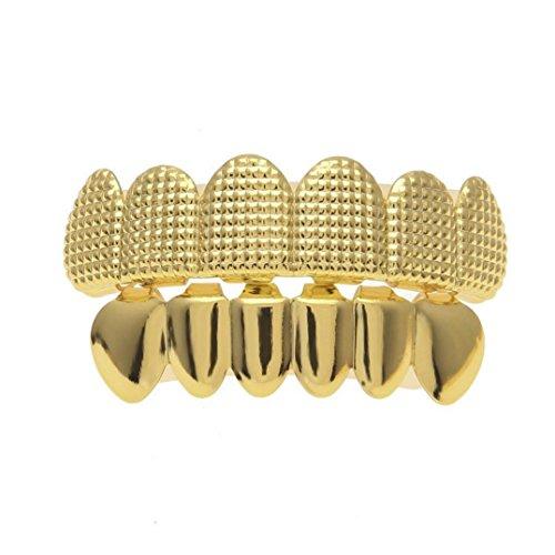 LANDFOX 14g 24k Reales Vergoldetes Vergolden Food-grade Fixierwachs 6 Tooth Vergoldete Hip Hop Zahnkappe mit Diamond Dental Schmuck geeignet für normale Erwachsene