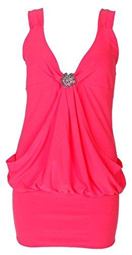 Damen-Kleid in Übergröße, Minilänge zum Ausgehen, angeschnittenes Kleid in 8–22 Gr. 42/44, neon pink