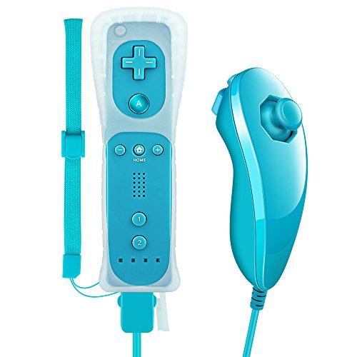 Pekyok Wii Controller und Nunchuk, DW12 Nintendo Wii Remote und Nunchuck mit Silikonhülle und Handschlaufe für Wii und Wii U-Blau