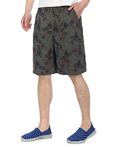Baymate Printing Beach Short Casual Sports Boardshorts pour Homme Armée Verte