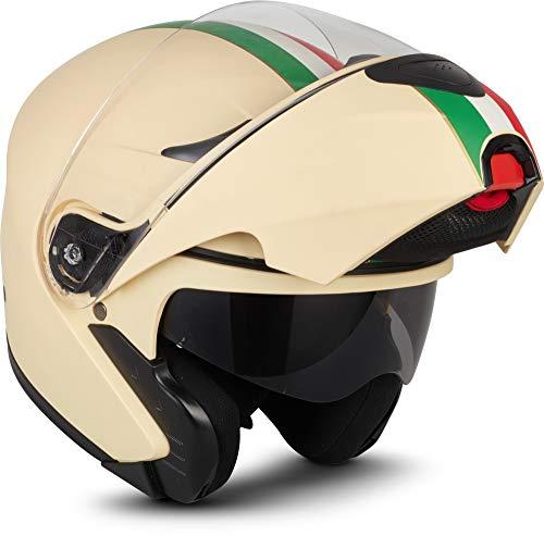 Moto Helmets® F19 'Gloss Black' - Casco da moto, casco pieghevole modulare flip-up integrale, full face cruiser, certificazione ECE, visiera a sgancio rapido XS - XL (53 - 62 cm)