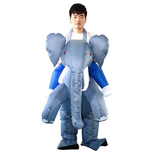 Toyvian Hinchable Elefante Disfraz de Adultos y Niños Montar de Cabello para Paseo (Sin batería)