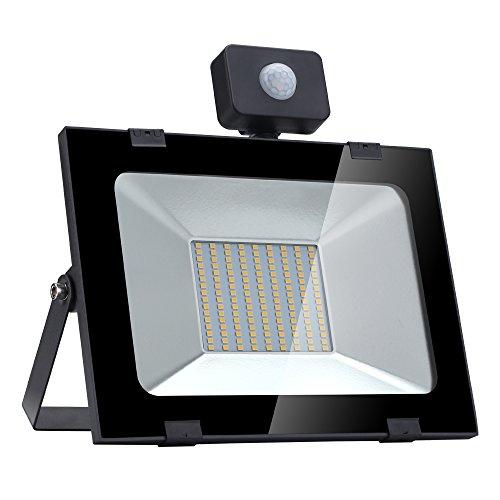 Faretto LED Ultrathin da 100 W con Sensore di Movimento Esterni Led floodlight, Impermeabile IP65 10000LM Bianco caldo per giardino Garage Giardino Cortile terrazza piazza fabbrica