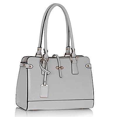 LESSUN LONDON Womens Designer Bags Patent Bag Shoulder Bag Celebrity Style Tote Bag Large Stylish Handbag