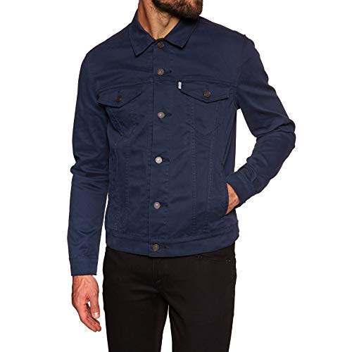 Levis The Trucker Jacket Large Navy Blazer Stretch Bedford Trucker