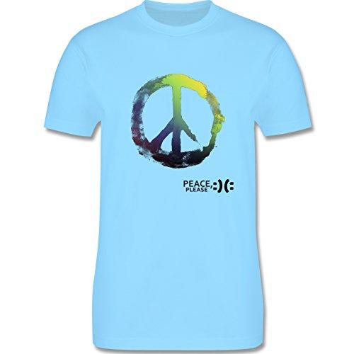 Statement Shirts - Frieden, bitte - Peace, please - Peacesymbol bunt - Herren Premium T-Shirt Hellblau