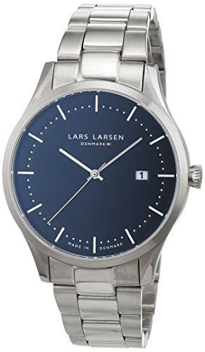 Lars Larsen Men's Quartz Watch with Black Dial Analogue Display and Silver Stainless Steel Bracelet 119SBSB