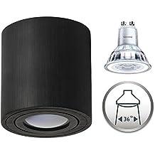 plafoniera faretto dimmerabile, Palermo AUFPUTZ lampada soffitto plafoniera faretto da incasso 5,5W bianco caldo moderno Rund Schwarz 5,5W Philips Dimmbar