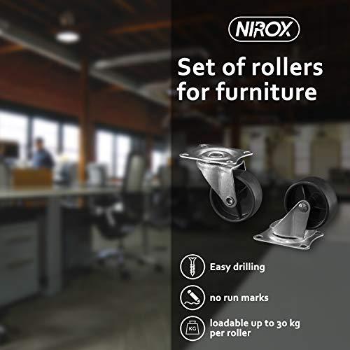 41i lNMcAkL - Nirox 8x Ruedas para muebles 50mm - Ruedas giratorias giro de 360 grados - Ruedas de transporte altura total de 60mm - Ruedas pivotantes hasta 120kg