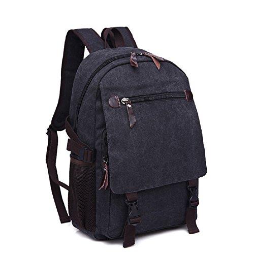 LF&F backpack16-35L Kapazität Leinwand College-Student Tasche Computer-Tasche Reise Casual Rucksack Paar Entertainment Rucksack Multifunktions Camping leichte Rucksack Black