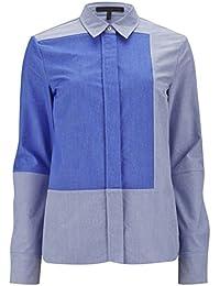 VICTORIA BECKHAM - Camisa Oxford Estructurada Paneles En Bloque Azul