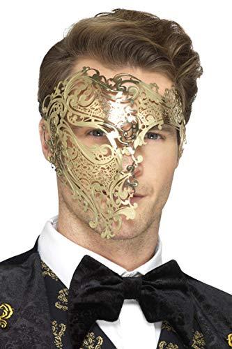 SMIFFY 'S 48164Deluxe Metall Filigran Phantom Maske, Gold, One (Metall Filigran Maske)