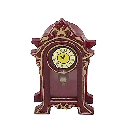DingLong 1:12 Puppenhaus Puppenstuben Zubehör - Klassische Retro-Vintage-Uhr-Tischuhrmöbel, Miniatur Modell der Life-Play-Szene/Dollhouse Accessoires- Mini Classic Table Clock 2.7 x 1.2 x 4.6 cm