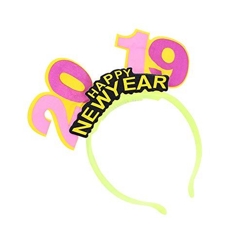 AchidistviQ LED-Haarreif, Happy New Year Luminous 2019, Zahl Weihnachten Party Decor gelb (Party Halloween 2019 Paris)