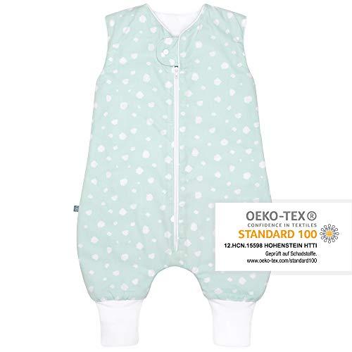 Premium Baby Ganzjahres Schlafsack mit Füßen/Beinen, Großzügige Bewegungsfreiheit, Flauschig Weich, 100{7e78f6cfd7ce6cb1fc789b18fa7394d4378cf9dc036953684ecee847188611c3} natürliche Baumwolle, für 15-21°C Grad - 2.5 TOG, Größe: 70cm, Punkte Mint von emma & noah