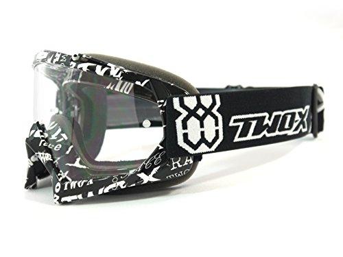 TWO-X Race Crossbrille Graphic MX Brille schwarz weiss Motocross Enduro Text Klarglas Motorradbrille Anti Scratch MX Schutzbrille