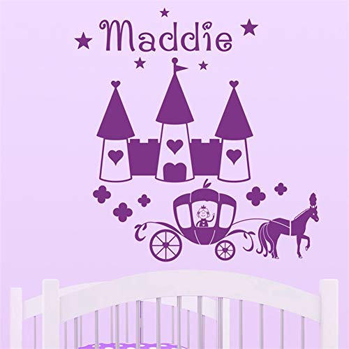 zhuziji Benutzerdefinierte Name Mädchen Prinzessin Schloss Und Pferd Wandaufkleber Wohnkultur Kinderzimmer Kinderzimmer Wand Stick 87x90 cm
