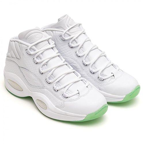 Reebok Question Mid Ee - white/mint glow - Basketball-Schuhe-Herren, Größe:10