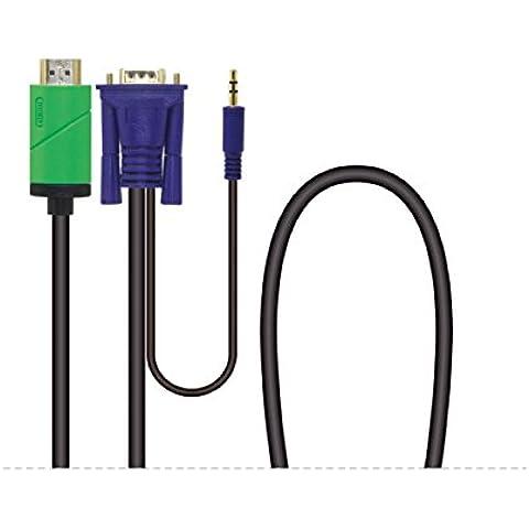 Silk Road HD 1080P da HDMI a VGA M/M squame del/convertitore con 3,5 mm cavo audio 3,0 m