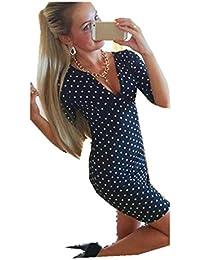 Tongshi Nueva moda mujeres lunares manga corta Casual Mini vestido vestido de fiesta