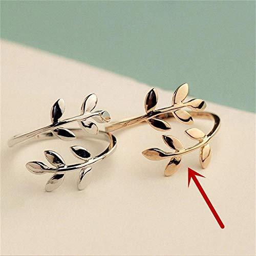 PULT Olive Tree Branch Blätter offener Ring für Frauen Mädchen Trauringe verstellbare Knöchel eleganten Schmuck Damen, Größenveränderbar, Gold Olive-damen-ring