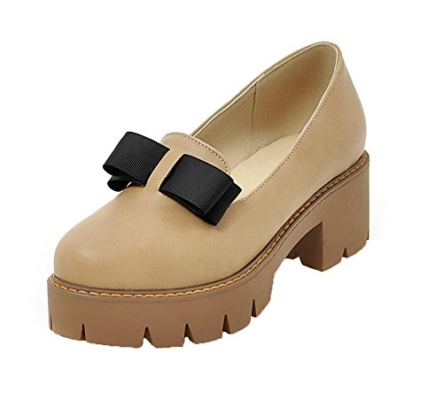 AgooLar Femme Tire à Talon Correct PU Cuir Couleur Unie Rond Chaussures Légeres Abricot