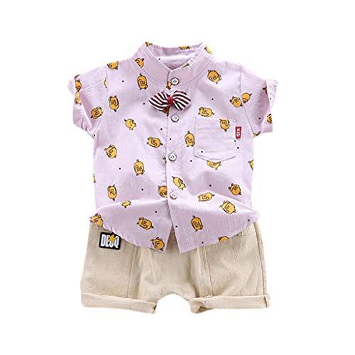 Pwtchenty Sommer Kinder Kleidung Kleinkind Baby Boys Gentleman Infant Tops T-Shirt HosenträGer Shorts Set Outfits Hawaii Hemd Strand Drucksatz -