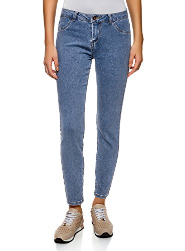 Oodji ultra donna jeans slim basic, blu, 25w / 32l (it 38 / eu 34 / xxs)