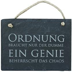 Schiefer Schild 'Ein Genie beherrscht das Chaos' Schiefertafel Wandbild 16x13