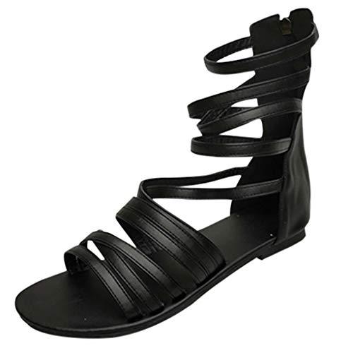 Damen Gladiator Sandalen Römersandalen Cage Flach Summer Bequem Strand Schuhe Peep Toe Schnürschuhe Reißverschluss Strandschuhe (EU:36, Schwarz)