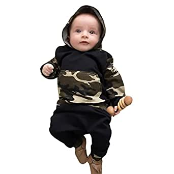 Ensemble de vêtements à Manches Longues, Internet Bébé Fille Sweatshirt à Capuche Léopard + Pantalons (0-3 Mois, Camouflage)