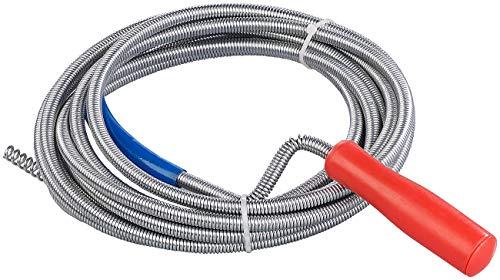 AGT Abfluss Spirale: Rohrreinigungs-Spirale für Waschbecken, Dusch- & Badewanne, 5m, Ø 9mm (Rohrreinigungsspiralen)