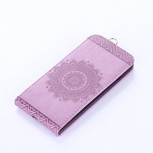 Cover iphone 7 plus Hülle,Fodlon® Totem Geprägt Up-Down öffnen PU-Leder Flip Stand mit Schwarz Lanyard Hülle Abdeckung zum iphone 7 plus-Purple Helles Lila