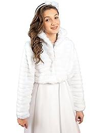 MGT-Shop Mädchen Kommunionbolero Kommunionsbolero Kommunionsjacke Kommunionjacke Cape Bolero Jacke MK-17 weiß