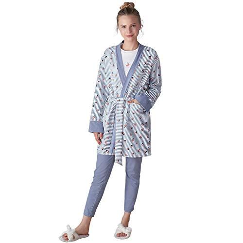 RGHOP Herbst Winter Kirschdruck Pyjamas dreiteilige Baumwolle Home Service Fabrik Großhandel, A, XL -