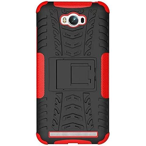 FALIANG Asus Zenfone Max (ZC550KL) Custodia, 2in1 Armatura Combinazione Antiurto Scudo Body Armor Copertura Defender per Asus Zenfone Max (ZC550KL) (Rosso)