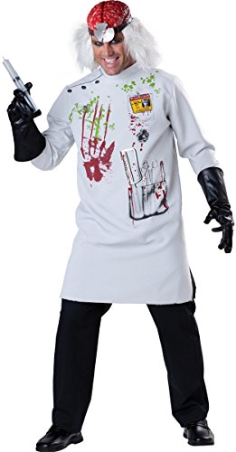 Herren Zombie Mad Scientist Doctor + Perücke Halloween Kostüm, M-XL (Mad Scientist Kostüm)