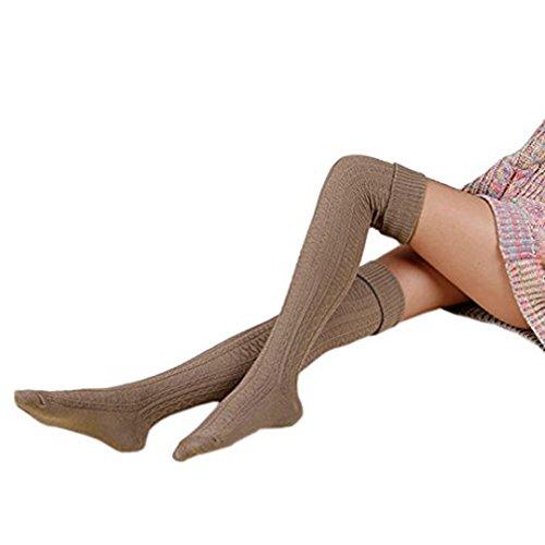 HITOP 1 Paar Damen Overknee Überknie Kniestrümpfe Mädchen Hold-up-Strümpfe Retro Schüler Knitting Sportsocken (Khaki)