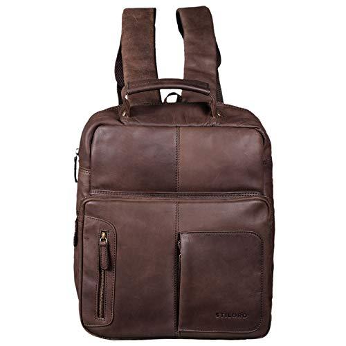 STILORD \'Toni\' Vintage Leder Rucksack groß für Frauen Männer moderner Daypack für DIN A4 Ordner 13.3 Zoll Laptop Rucksackhandtasche für Schule Uni Arbeit, Farbe:matt - Dunkelbraun