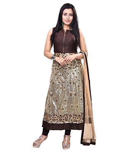Vedika Creations Brown Colour Georgette Anarkali Salwar Kameez.