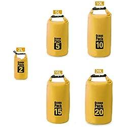 Bluelans Sac à dos léger et étanche de 2, 5, 10, 15 ou 20 L, sac flottant, jaune, 15l
