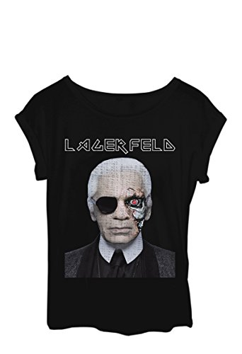 Lagerfeld Terminator parodia, Maglietta da donna, colore: nero nero Small