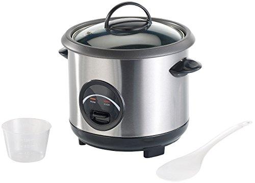 Rosenstein & Söhne Kochtöpfe: Edelstahl-Reiskocher mit automatischer Warmhalte-Funktion, 0,6 Liter (Reiskocher mit Warmhaltefunktion)