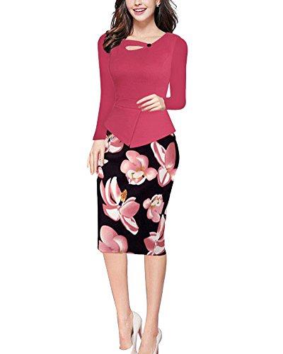 Damen Vintage-Ausschnitt Kontrast Blumen Abendkleid Rose lange Ärmel