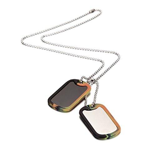 Wistic Jewelry Herren Halsketten mit 2 Dog Tag Anhänger Edelstahl (red)