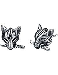 Stainless Steel Dagger Biting Wolf Stud Earrings G1018JZ1