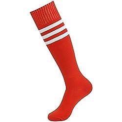 Da.Wa Calcetines de Fútbol de la Señora de los Hombres, Medias de las Mujeres, Calcetines de la Rodilla de las Mujeres, Calcetines de los Deportes Retros de los Muchachos y de las Muchachas para los Cabritos,Rojo