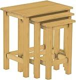 Brasilmöbel 3 x Beistelltische als Set, Pinie Massivholz, geölt und gewachst Eiche hell, L/B/H: 60 x 40 x 62 cm