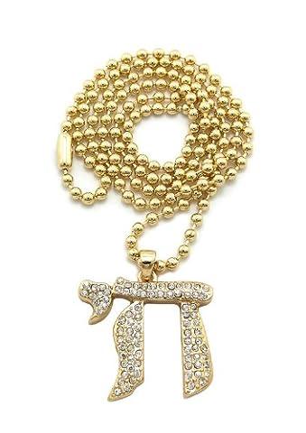 Collier unisexe de ton or à micro pendentif de Chai,