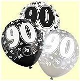 90TH BIRTHDAY BALLOONS X6 PER PACK (NEW UNIQUE BALCK)